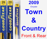 Front & Rear Wiper Blade Pack for 2009 Chrysler Town & Country - Premium