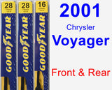 Front & Rear Wiper Blade Pack for 2001 Chrysler Voyager - Premium