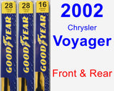 Front & Rear Wiper Blade Pack for 2002 Chrysler Voyager - Premium