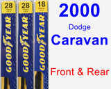 Front & Rear Wiper Blade Pack for 2000 Dodge Caravan - Premium