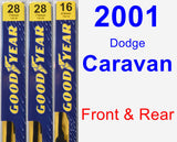 Front & Rear Wiper Blade Pack for 2001 Dodge Caravan - Premium