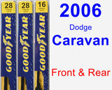 Front & Rear Wiper Blade Pack for 2006 Dodge Caravan - Premium