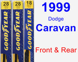 Front & Rear Wiper Blade Pack for 1999 Dodge Caravan - Premium