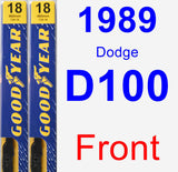 Front Wiper Blade Pack for 1989 Dodge D100 - Premium