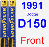 Front Wiper Blade Pack for 1991 Dodge D150 - Premium