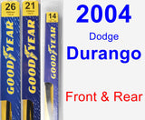 Front & Rear Wiper Blade Pack for 2004 Dodge Durango - Premium
