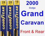 Front & Rear Wiper Blade Pack for 2000 Dodge Grand Caravan - Premium