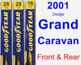 Front & Rear Wiper Blade Pack for 2001 Dodge Grand Caravan - Premium