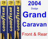 Front & Rear Wiper Blade Pack for 2004 Dodge Grand Caravan - Premium