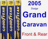 Front & Rear Wiper Blade Pack for 2005 Dodge Grand Caravan - Premium