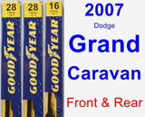 Front & Rear Wiper Blade Pack for 2007 Dodge Grand Caravan - Premium