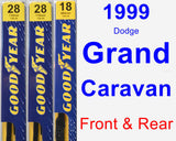 Front & Rear Wiper Blade Pack for 1999 Dodge Grand Caravan - Premium