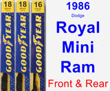 Front & Rear Wiper Blade Pack for 1986 Dodge Royal Mini Ram - Premium