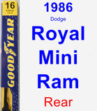 Rear Wiper Blade for 1986 Dodge Royal Mini Ram - Premium