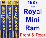 Front & Rear Wiper Blade Pack for 1987 Dodge Royal Mini Ram - Premium