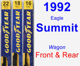 Front & Rear Wiper Blade Pack for 1992 Eagle Summit - Premium