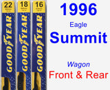 Front & Rear Wiper Blade Pack for 1996 Eagle Summit - Premium