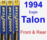 Front & Rear Wiper Blade Pack for 1994 Eagle Talon - Premium