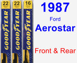 Front & Rear Wiper Blade Pack for 1987 Ford Aerostar - Premium