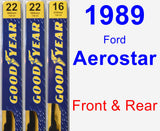 Front & Rear Wiper Blade Pack for 1989 Ford Aerostar - Premium