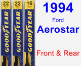 Front & Rear Wiper Blade Pack for 1994 Ford Aerostar - Premium