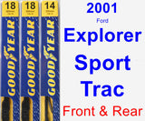 Front & Rear Wiper Blade Pack for 2001 Ford Explorer Sport Trac - Premium