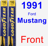 Front Wiper Blade Pack for 1991 Ford Mustang - Premium