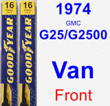 Front Wiper Blade Pack for 1974 GMC G25/G2500 Van - Premium