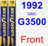 Front Wiper Blade Pack for 1992 GMC G3500 - Premium