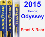 Front & Rear Wiper Blade Pack for 2015 Honda Odyssey - Premium