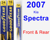 Front & Rear Wiper Blade Pack for 2007 Kia Spectra - Premium