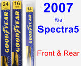 Front & Rear Wiper Blade Pack for 2007 Kia Spectra5 - Premium