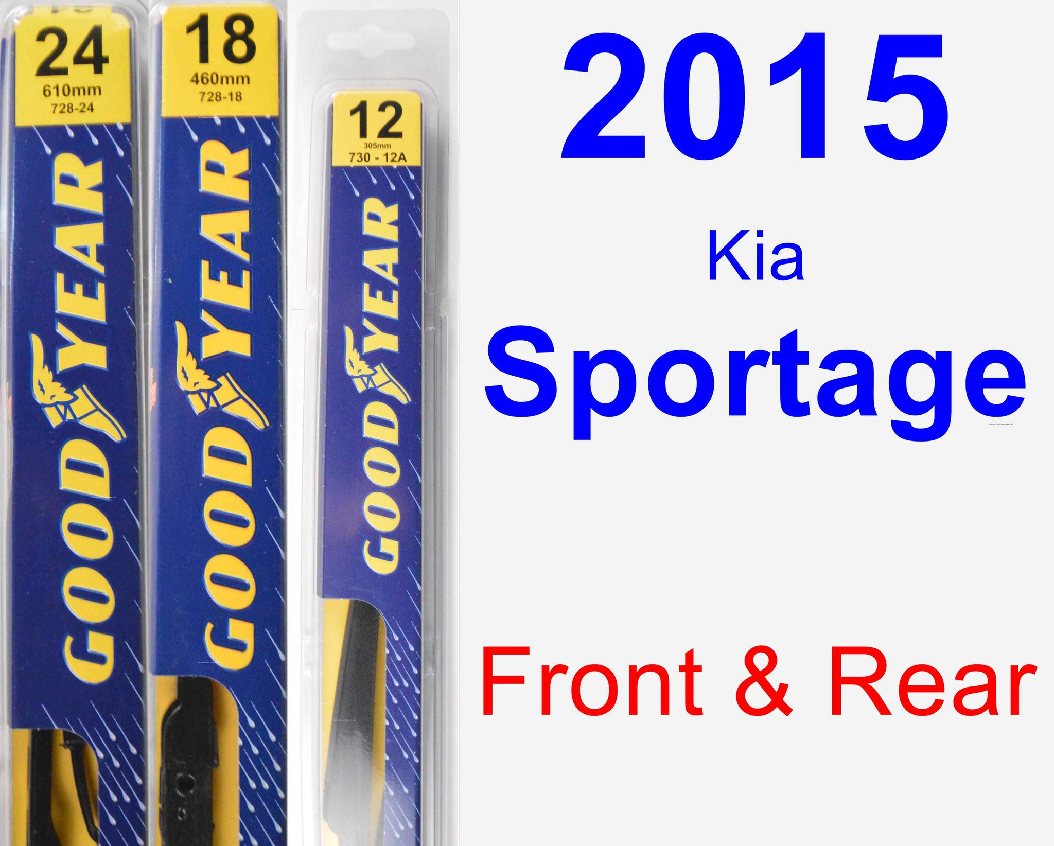 Front & Rear Wiper Blade Pack for 2015 Kia Sportage - Premium