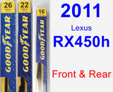 Front & Rear Wiper Blade Pack for 2011 Lexus RX450h - Premium