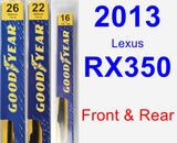 Front & Rear Wiper Blade Pack for 2013 Lexus RX350 - Premium