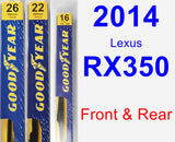 Front & Rear Wiper Blade Pack for 2014 Lexus RX350 - Premium