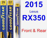 Front & Rear Wiper Blade Pack for 2015 Lexus RX350 - Premium