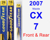 Front & Rear Wiper Blade Pack for 2007 Mazda CX-7 - Premium