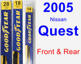Front & Rear Wiper Blade Pack for 2005 Nissan Quest - Premium