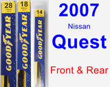 Front & Rear Wiper Blade Pack for 2007 Nissan Quest - Premium