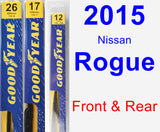 Front & Rear Wiper Blade Pack for 2015 Nissan Rogue - Premium