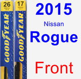Front Wiper Blade Pack for 2015 Nissan Rogue - Premium