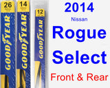 Front & Rear Wiper Blade Pack for 2014 Nissan Rogue Select - Premium