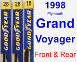 Front & Rear Wiper Blade Pack for 1998 Plymouth Grand Voyager - Premium