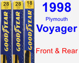 Front & Rear Wiper Blade Pack for 1998 Plymouth Voyager - Premium