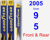 Front & Rear Wiper Blade Pack for 2005 Saab 9-5 - Premium