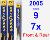 Front & Rear Wiper Blade Pack for 2005 Saab 9-7x - Premium