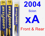 Front & Rear Wiper Blade Pack for 2004 Scion xA - Premium