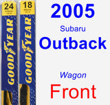Front Wiper Blade Pack for 2005 Subaru Outback - Premium