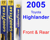 Front & Rear Wiper Blade Pack for 2005 Toyota Highlander - Premium